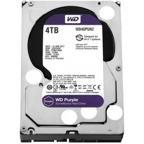 Жесткий диск 4TB Western Digital WD40PURZ для систем видеонаблюдения