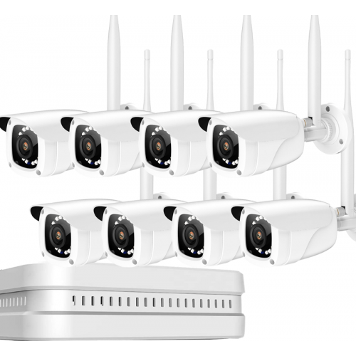 Беспроводной IP комплект видеонаблюдения wifi на 8 FullHD камер 1080p 2Mp
