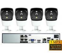 IP комплект видеонаблюдения 4 камеры 5.0Mp POE