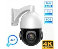 Поворотная IP PTZ камера видеонаблюдения 8Mp 4K POE