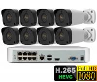 IP комплект видеонаблюдения  на 8 камер 2Mp FullHD 1080p POE
