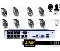 IP комплект видеонаблюдения на 8 камер 3.0Mp 1296p POE